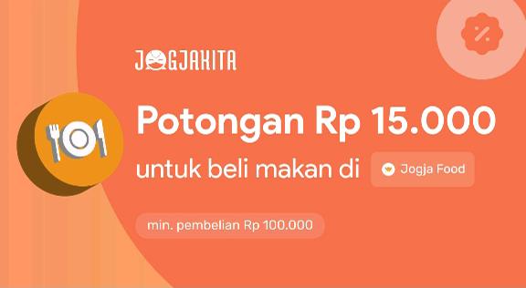 Voucher Jogjakita Potongan Rp.15.000 Untuk beli Makan di Jogjafood